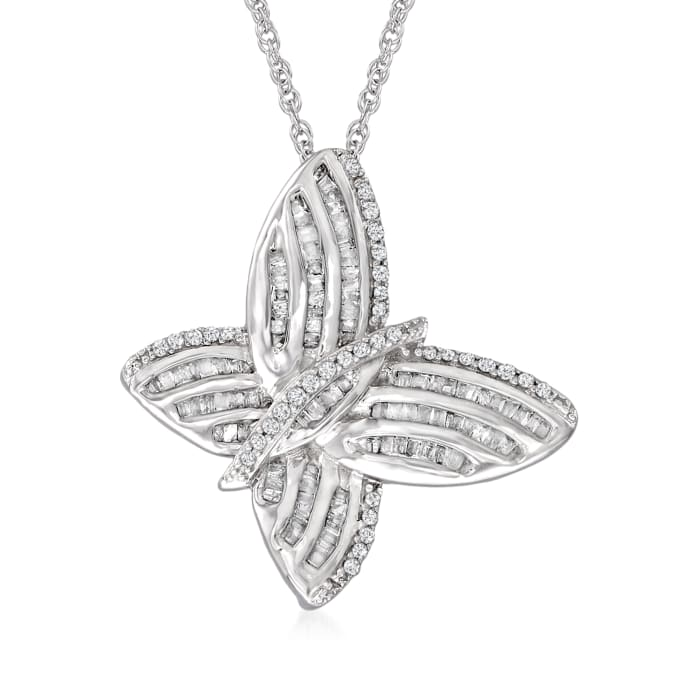.50 ct. t.w. Diamond Butterfly Pendant Necklace in Sterling Silver