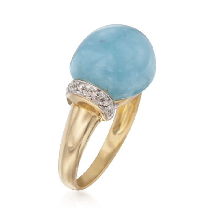 Oval Cabochon Aquamarine Ring with Diamond Accents in 14kt Yellow Gold