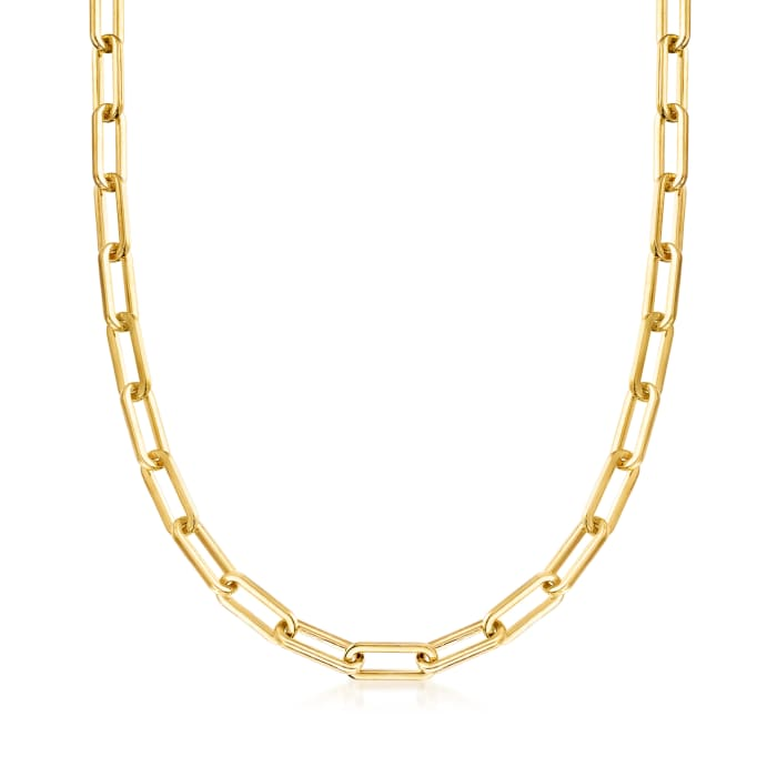 Italian Andiamo 14kt Yellow Gold Over Resin Paper Clip Link Necklace