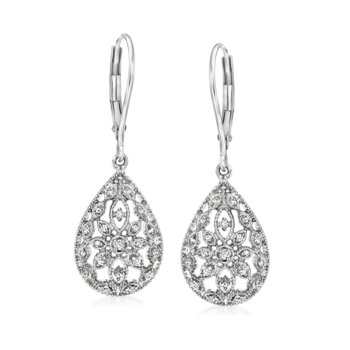 .10 ct. t.w. Diamond Openwork Teardrop Earrings in Sterling Silver