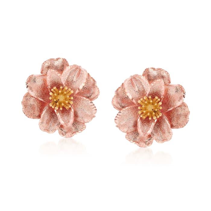 Italian 18kt Two-Tone Gold Flower Earrings