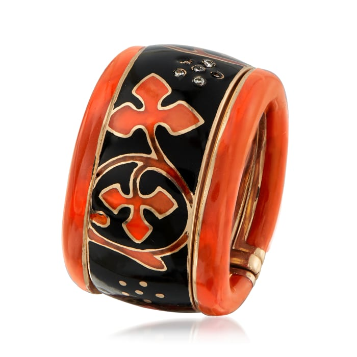 C. 1990 Vintage Nouvelle Bague Black and Red Enamel Flower Ring with Diamond Accents in 18kt Yellow Gold