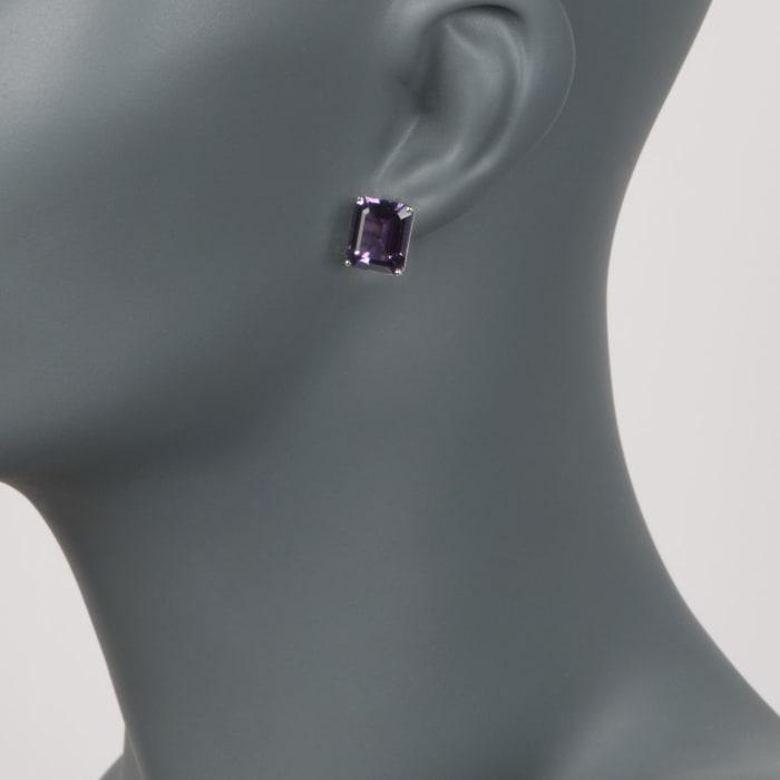 10.00 ct. t.w. Amethyst Stud Earrings in 14kt White Gold