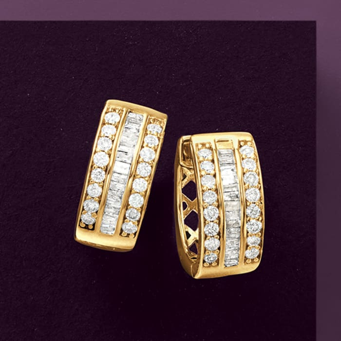 1.00 ct. t.w. Baguette and Round Diamond Hoop Earrings in 18kt Gold Over Sterling