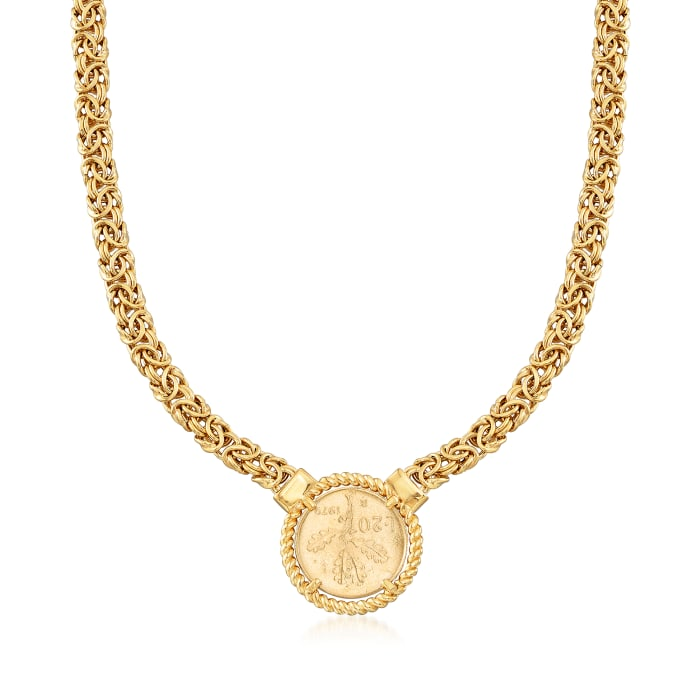 Italian 18kt Gold Over Sterling Replica Lira Coin Byzantine Necklace