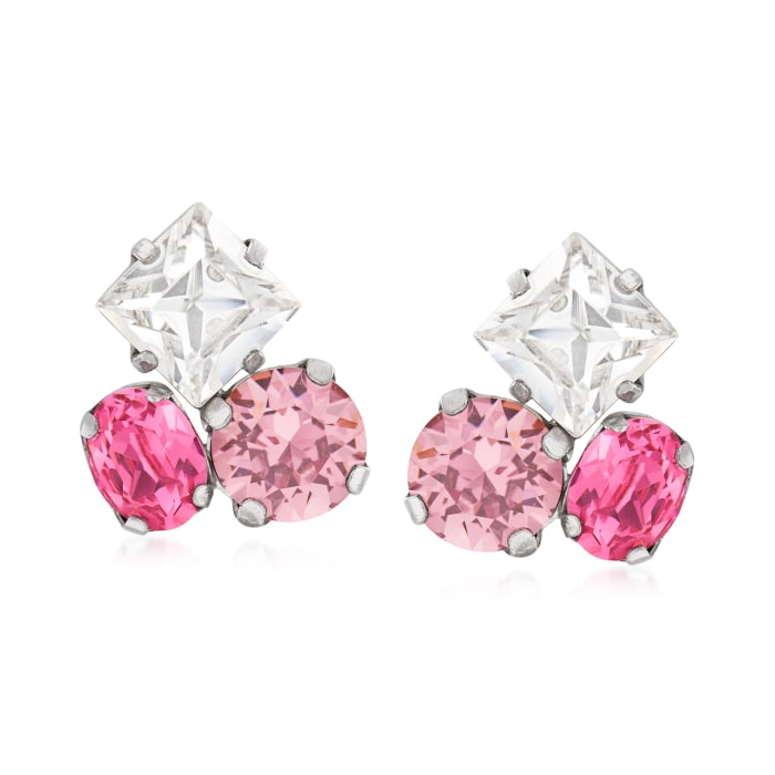 Italian Pink and White Swarovski Crystal Earrings in Sterling Silver