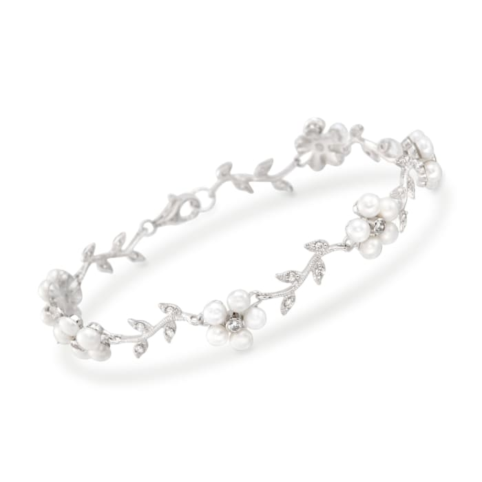 3-3.5mm Cultured Pearl and .60 ct. t.w. CZ Floral Bracelet in Sterling Silver