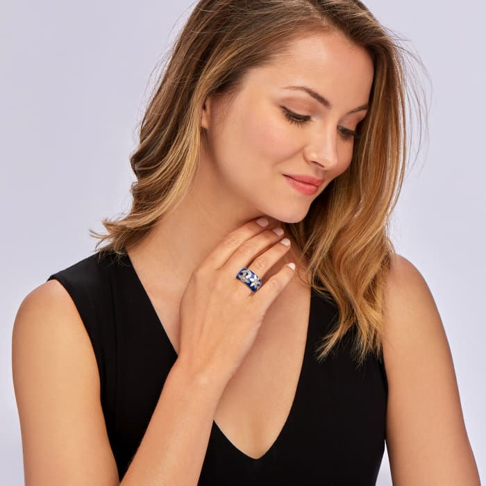 """Belle Etoile """"Moonflower"""" Blue Enamel and Mother-Of-Pearl Ring with CZ Accents in Sterling Silver"""