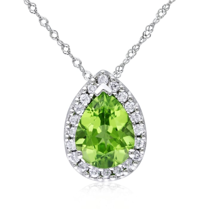 1.60 Carat Peridot and .18 ct. t.w. Diamond Pendant Necklace in 14kt White Gold