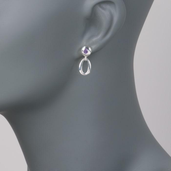 Zina Sterling Silver .40 ct. t.w. Amethyst Oval Link Drop Earrings