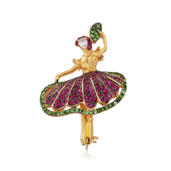 .70 ct. t.w. Ruby and .30 ct. t.w. Tsavorite Ballerina Pin in 18kt Yellow Gold