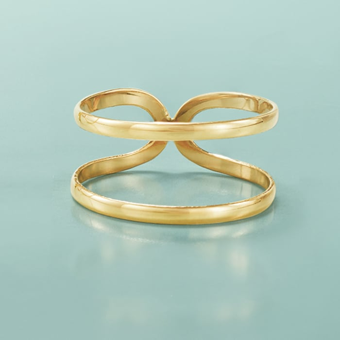 14kt Yellow Gold Two-Band Open-Space Ring