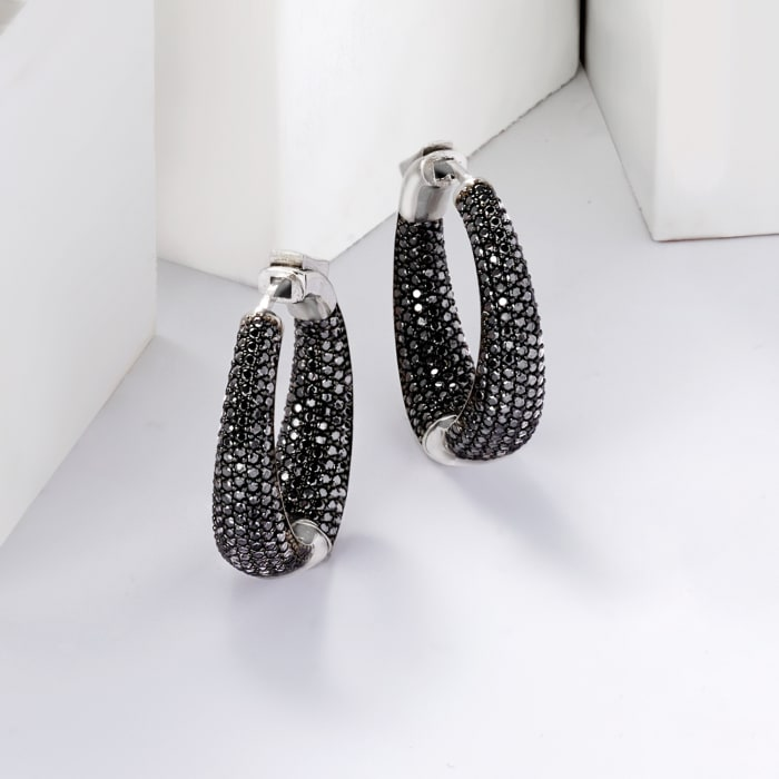 .50 ct. t.w. Black Spinel Inside-Outside Hoop Earrings in Sterling Silver