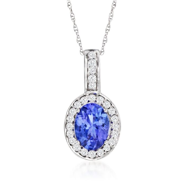 1.15 Carat Tanzanite and .21 ct. t.w. Diamond Pendant Necklace in 14kt White Gold
