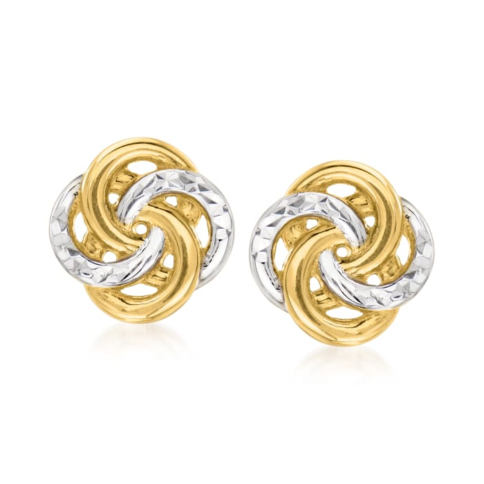 14kt Two-Tone Gold Interlocking-Circle Stud Earrings