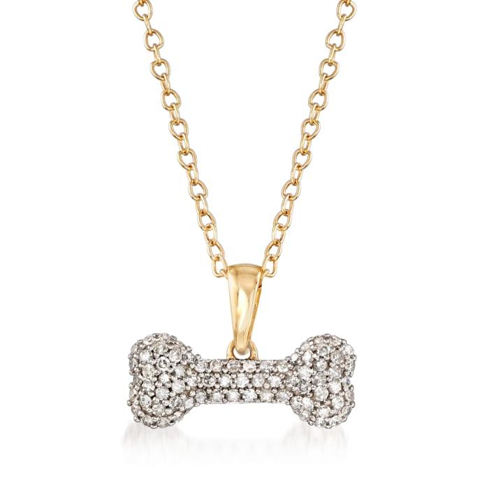 .25 ct. t.w. Diamond Dog Bone Pendant Necklace in 14kt Yellow Gold