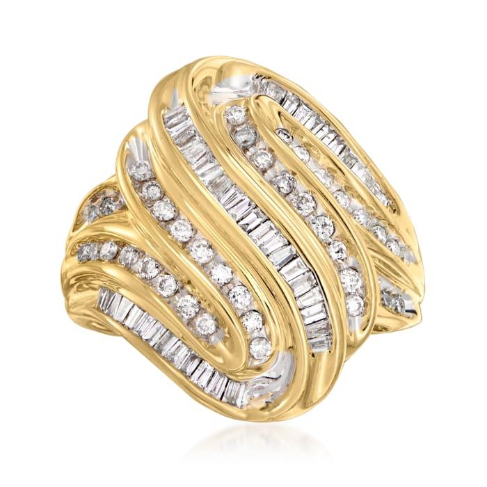 C. 1980 Vintage 1.00 ct. t.w. Diamond Swirl Ring in 14kt Yellow Gold