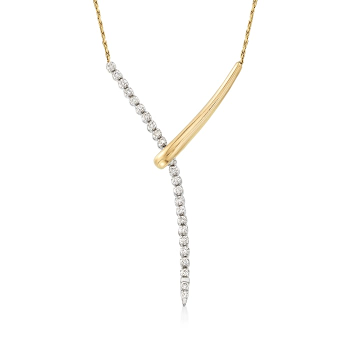 .50 ct. t.w. Diamond Lariat Necklace in 14kt Two-Tone Gold