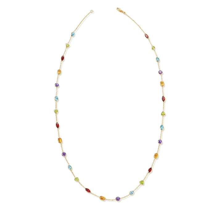 9.70 ct. t.w. Multi-Gemstone Station Necklace in 14kt Yellow Gold