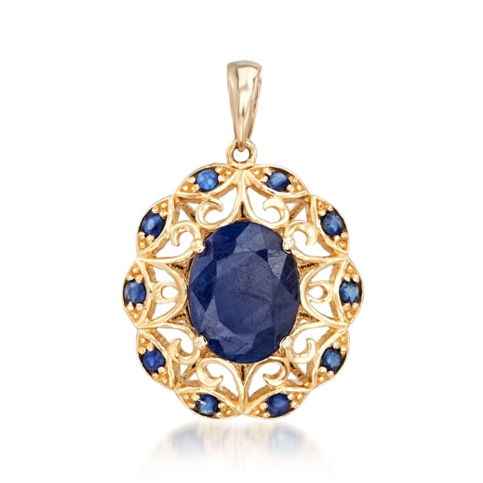 3.60 ct. t.w. Sapphire Scrolled Pendant in 14kt Yellow Gold