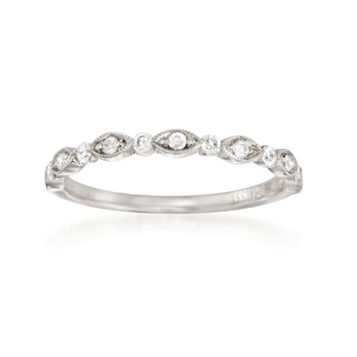 Henri Daussi .20 ct. t.w. Diamond Wedding Ring in 18kt White Gold