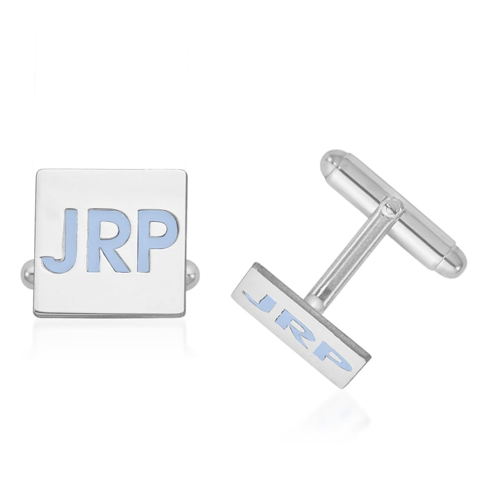 Sterling Silver Square Monogram Cuff Links with Bright Teal Enamel