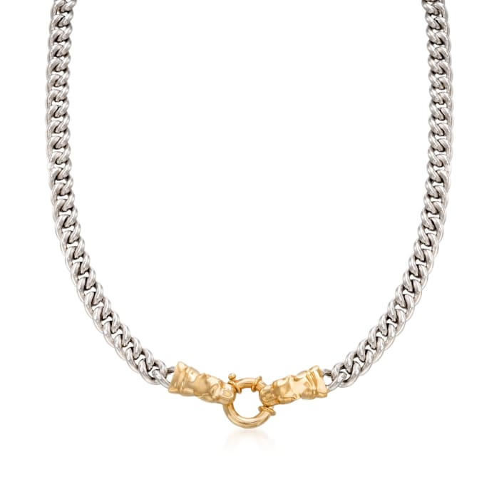Italian Sterling Silver and 18kt Gold Over Sterling Double Panther Head Necklace