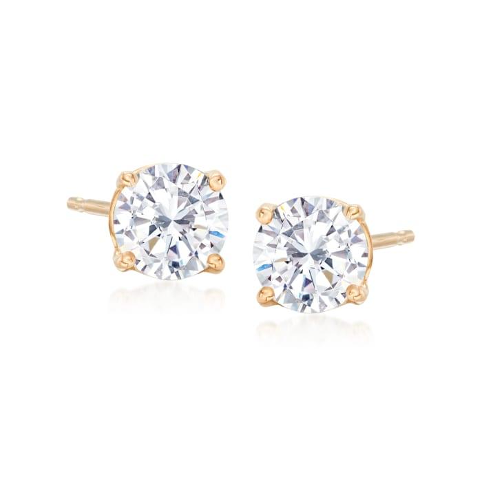 1.00 ct. t.w. CZ Stud Earrings in 14kt Yellow Gold