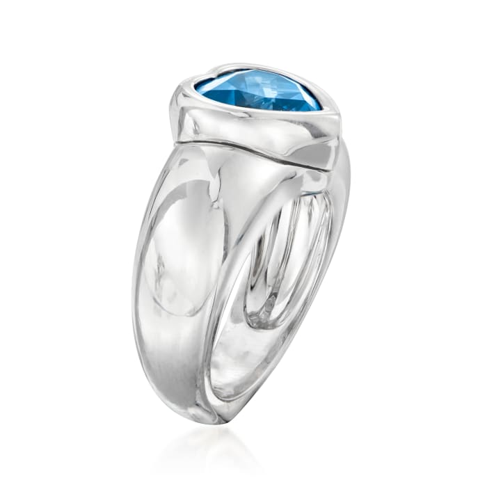 C. 1980 Vintage Piaget 3.85 Carat London Blue Topaz Heart Ring in 18kt White Gold