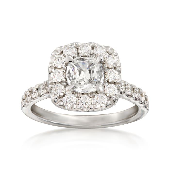 Henri Daussi 1.81 ct. t.w. Diamond Halo Ring in 18kt White Gold