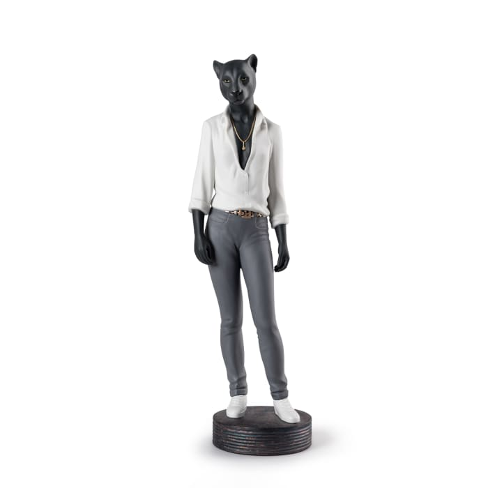 """Lladro """"Panther Woman"""" Porcelain Figurine"""