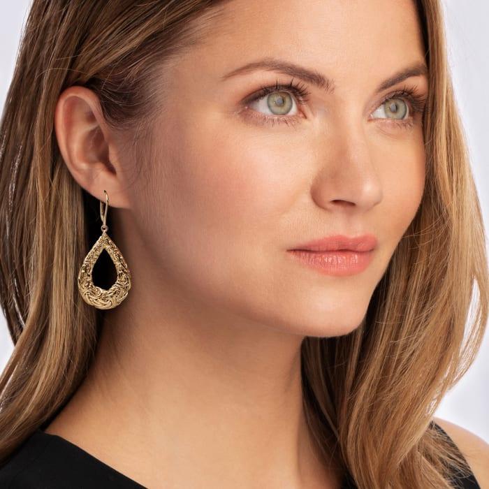 14kt Yellow Gold Byzantine Open Teardrop Earrings