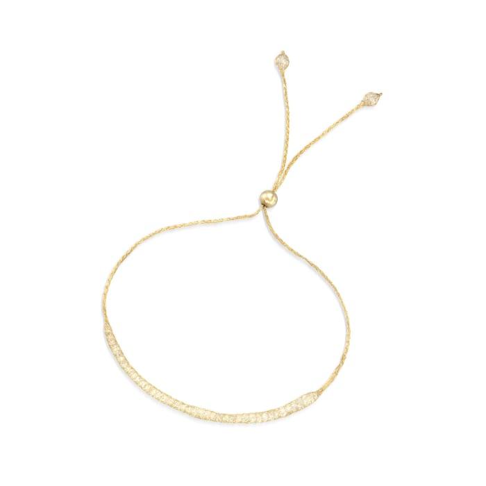 Italian 3.00 ct. t.w. CZ Mesh Bolo Bracelet in 14kt Yellow Gold