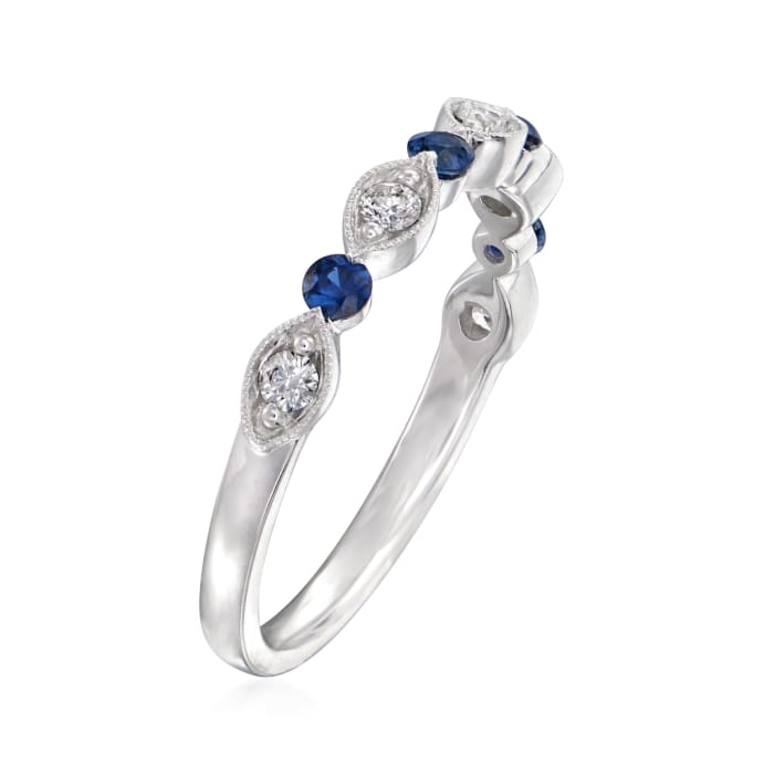 Henri Daussi .20 ct. t.w. Sapphire and .18 ct. t.w. Wedding Ring in 14kt White Gold