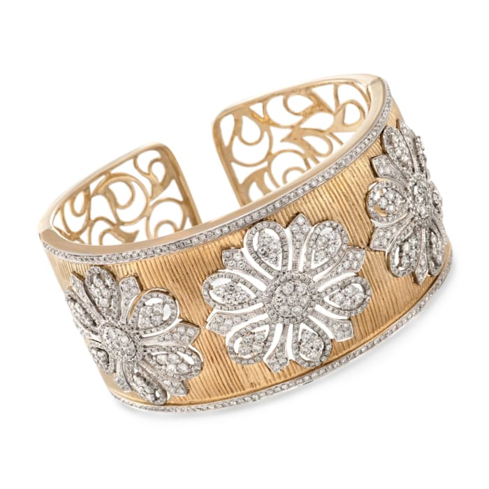 7.85 ct. t.w. Diamond Floral Wide Cuff Bracelet in 18kt Yellow Gold