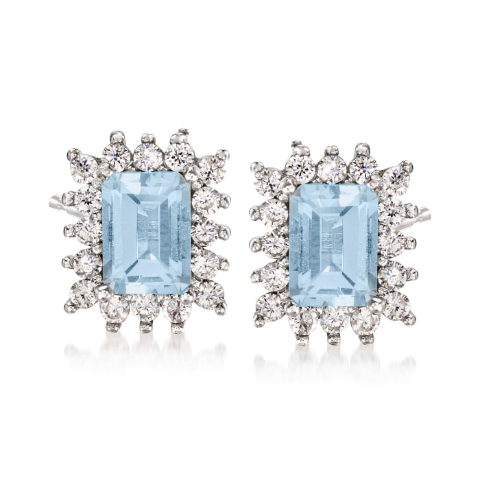 2.20 ct. t.w. Aquamarine and .80 ct. t.w. White Zircon Stud Earrings in Sterling Silver