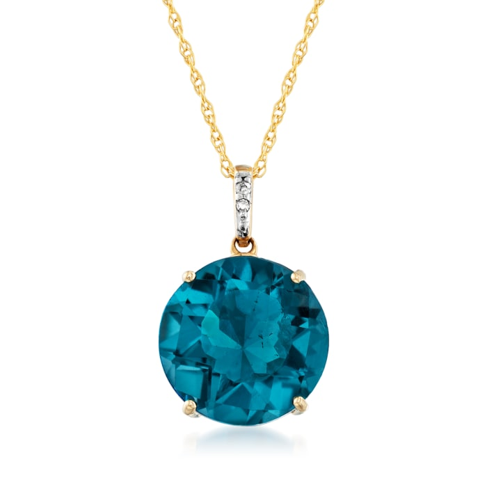 7.00 Carat London Blue Topaz Pendant Necklace in 14kt Yellow Gold