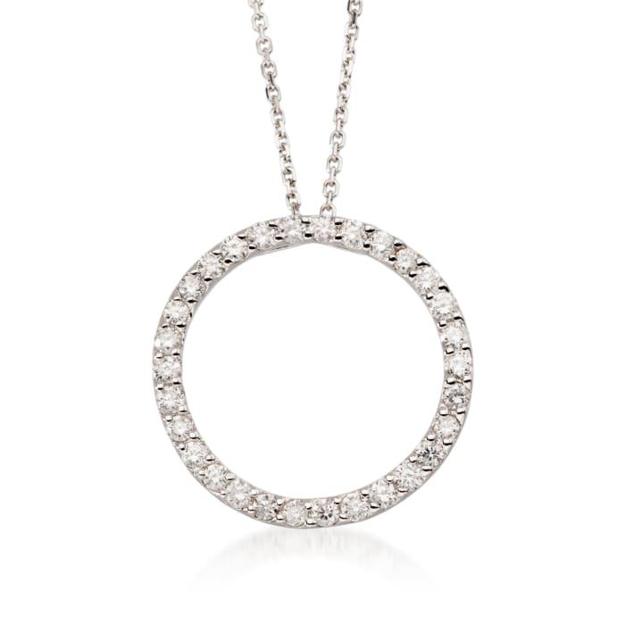 .75 ct. t.w. Diamond Open Circle Pendant Necklace in 14k White Gold