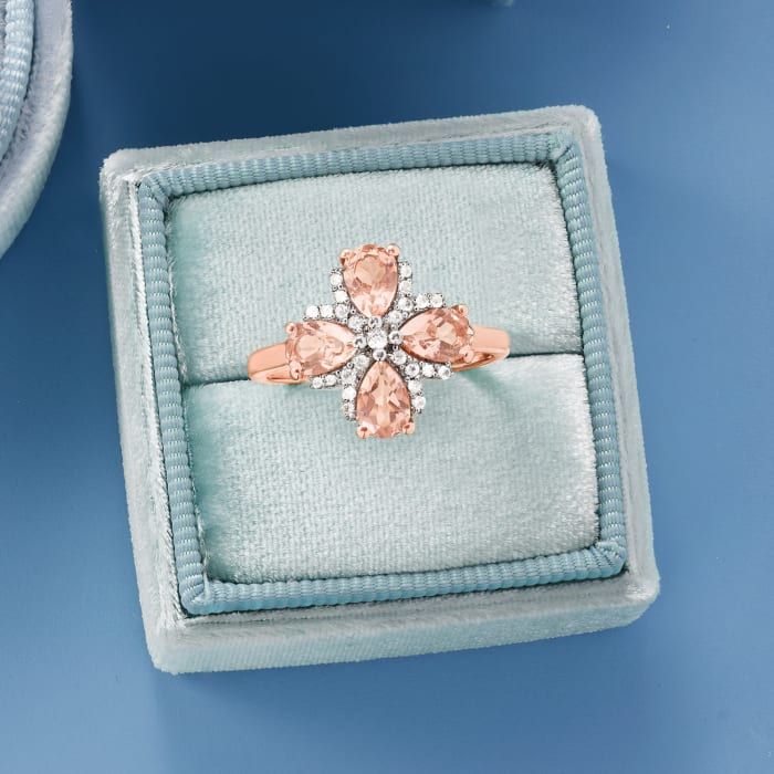 1.40. ct. t.w. Morganite and .10 ct. t.w. White Topaz Ring in 18kt Rose Gold Over Sterling