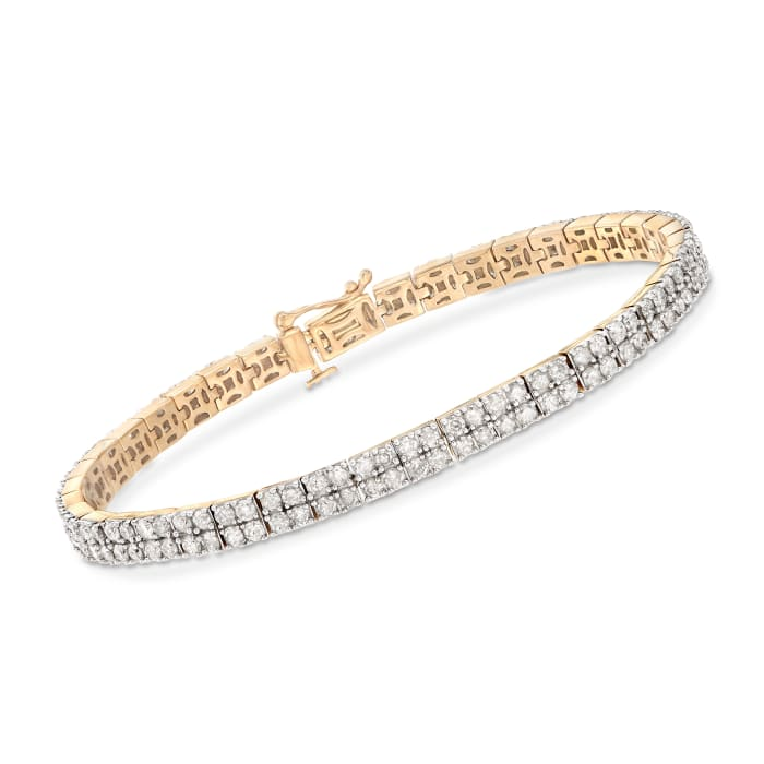 5.00 ct. t.w. Diamond Two-Row Bracelet in 18kt Gold Over Sterling