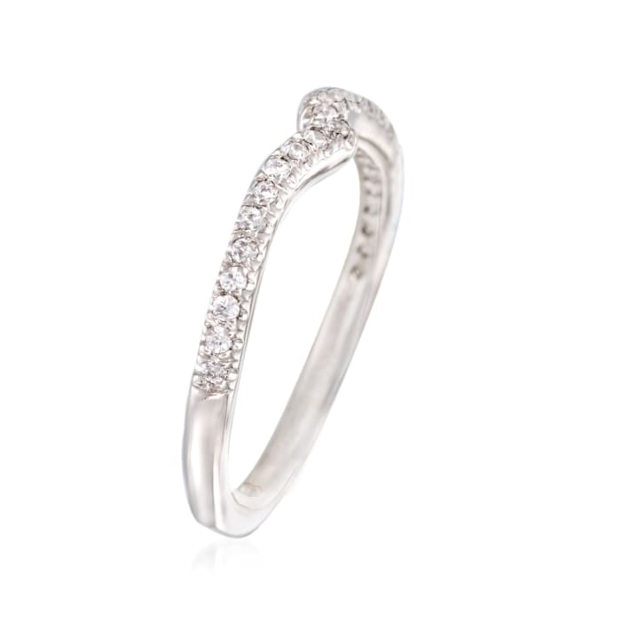 Gabriel Designs .22 ct. t.w. Diamond Curved Wedding Ring in 14kt White Gold
