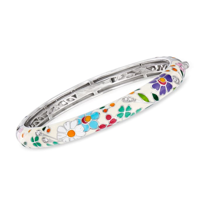 """Belle Etoile """"Flower Garden"""" Enamel and .15 ct. t.w. CZ Bangle Bracelet in Sterling Silver"""