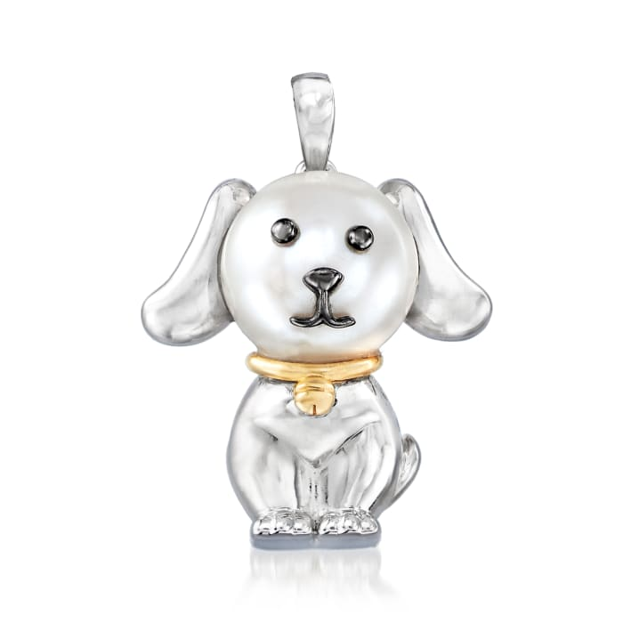 9.5-10mm Cultured Pearl Dog Pendant in Sterling Silver with 14kt Yellow Gold