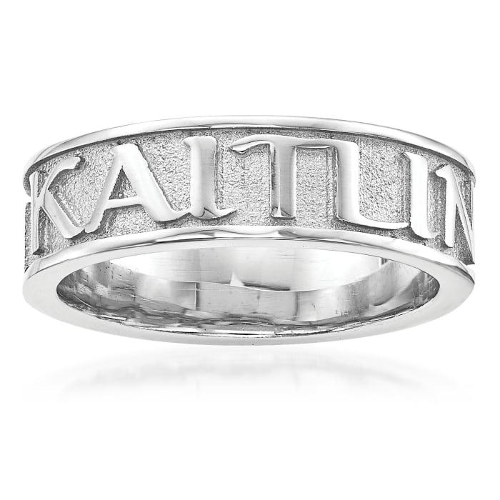Sterling Silver Polished Sandblast Background Name Ring