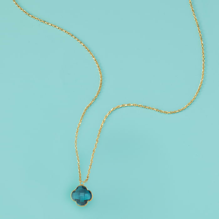 Italian 1.80 Carat London Blue Topaz Clover Necklace in 14kt Yellow Gold