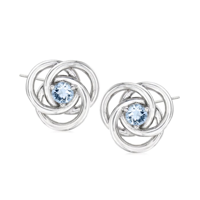 .30 ct. t.w. Aquamarine Love Knot Earrings in Sterling Silver