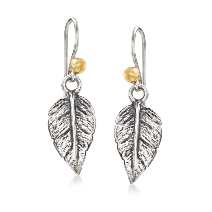 Sterling Silver Leaf Drop Earrings with 14kt Yellow Gold