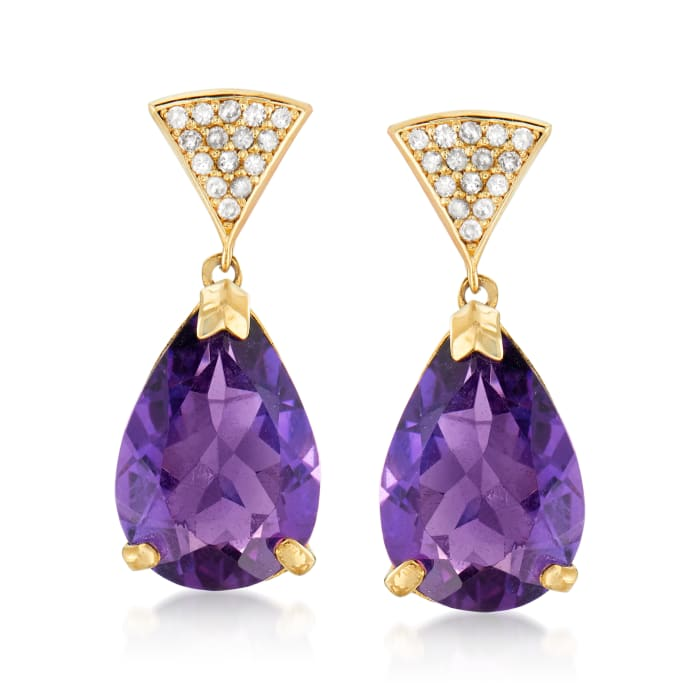 6.50 ct. t.w. Amethyst and .15 ct. t.w. Diamond Drop Earrings in 14kt Yellow Gold
