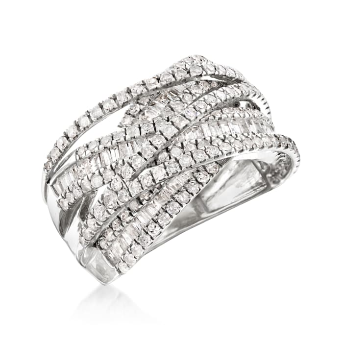 2.00 ct. t.w. Round and Baguette Diamond Highway Ring in 14kt White Gold