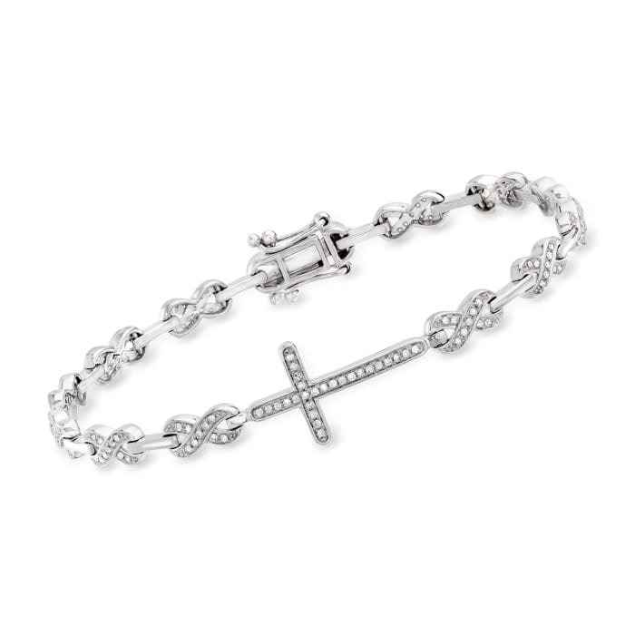 .50 ct. t.w. Diamond Cross and Infinity Symbol Link Bracelet in Sterling Silver